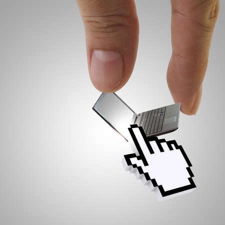 close of hand picks laptop with 3d cursor hand Stock Photo - 13552924