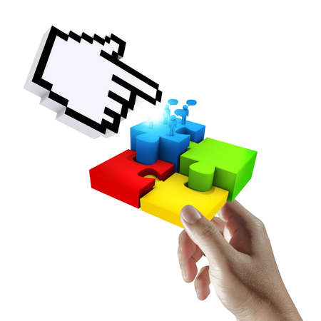 hand holds cursor pointing at completing the puzzle photo