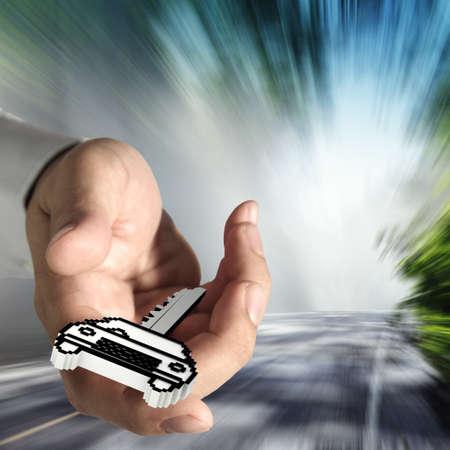 rental: cerca de las manos ofrece icono de p�xel llave del coche como concepto