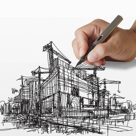 architecture project: hand draws construction site on paper background