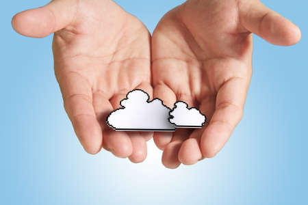 file share: hands exhibiting the cloud computing pixel icon