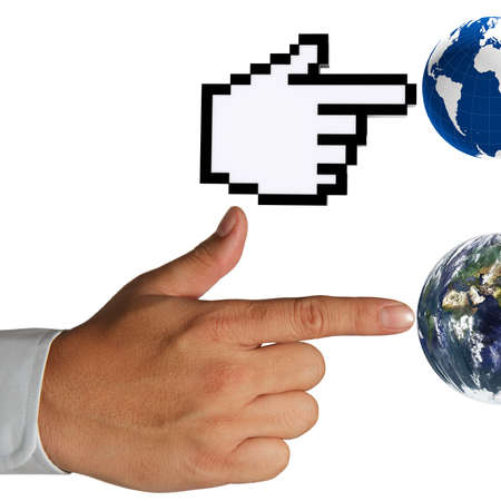 hand cursor and human hand touch the earth as concept Elements of this image furnished by NASA  Stock Photo - 13652474