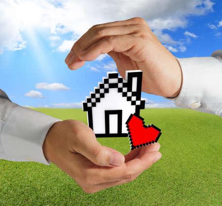 business hands show pixel love house as concept photo