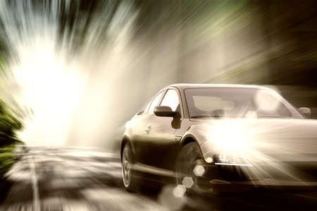 speedometer: Bella macchina sportiva su strada
