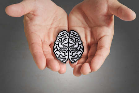 business man hand show brain sign as medical technology photo