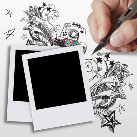 hand draws doodles art and blank photos photo