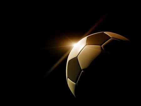 pelota de futbol: detalles del f�tbol bal�n en fondo negro Foto de archivo