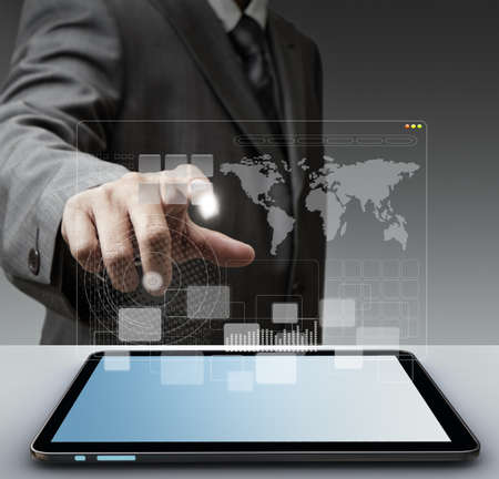 business man hand touch virtual screen computer interface as concept Elements of this image furnished by NASA Stock Photo - 13974217