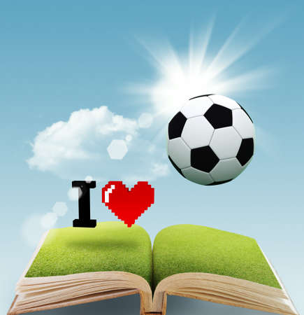 open book of pixel sign I love SOCCER as concept