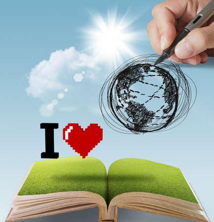 open book of hand drawn I LOVE THE EARTH Foto de archivo