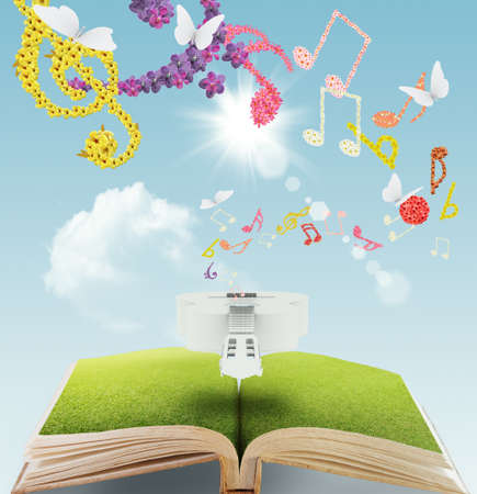 music book: open book of flower musical background