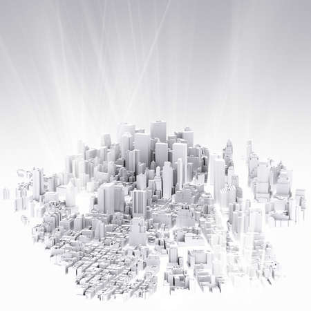 image of 3d render of city scape and light background photo