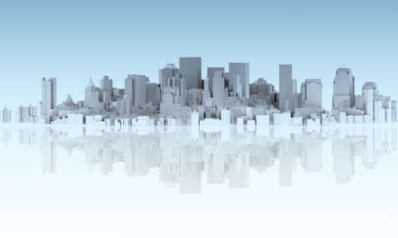 house render: abstract city isolated on mirror floor