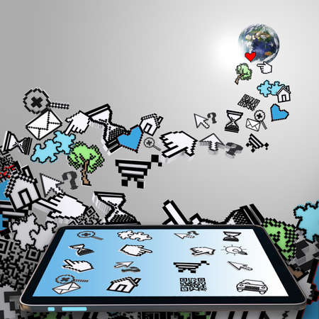 tablet computer with falling pixel computer icons as internet concept Stock Photo - 13974261