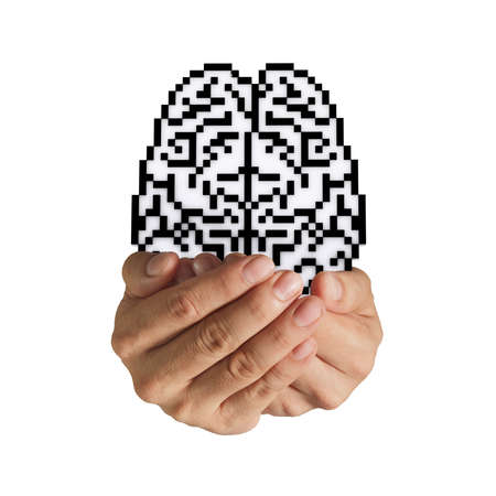 hand hold 3d brain pixel icon sign