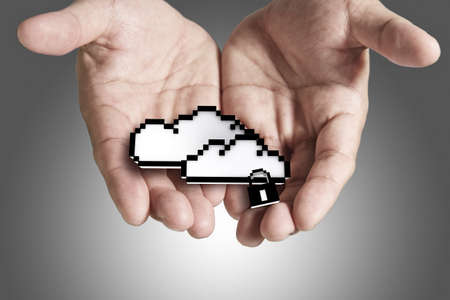 data backup: hands exhibiting the cloud computing pixel icon