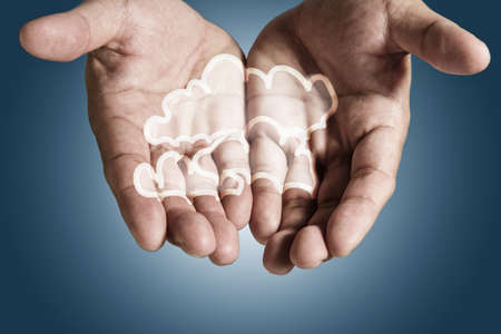 centralized: hands exhibiting the cloud computing pixel icon