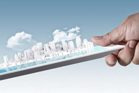 abstract virtual city on touch screen tablet as concept