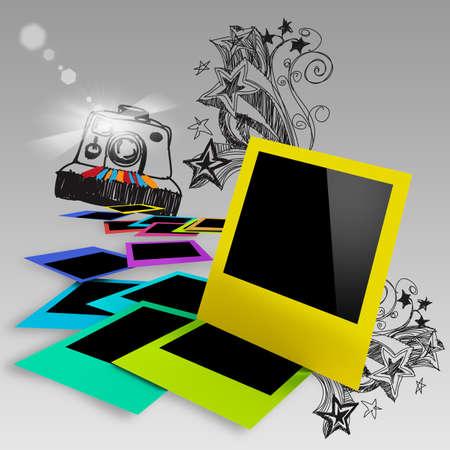 blank colorful photo frames on doodle background photo