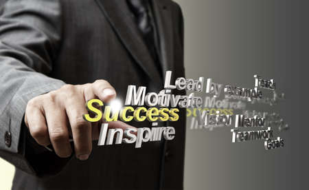 business man hand touch 3d metallic success diagram as concept photo