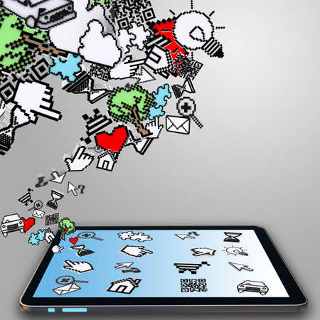 tablet computer and pixel cursor icon as internet concept photo