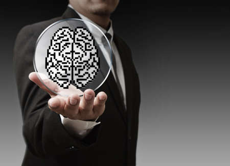 business man hand show 3d brain sign as medical technology