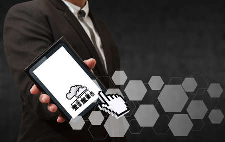 business man hand shows 3d pixel cloud network icon as concept photo