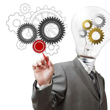 ビジネスマン電球頭と cogs 概念としての歯車を描画します