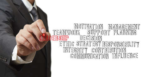 close up of businessman hand writing leadership skill concept photo