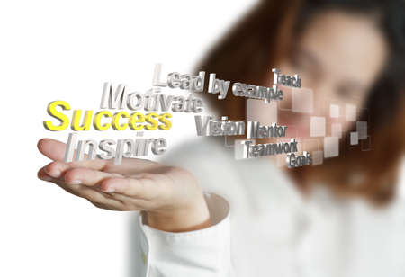 business woman hand shows 3d metallic success diagram as concept photo