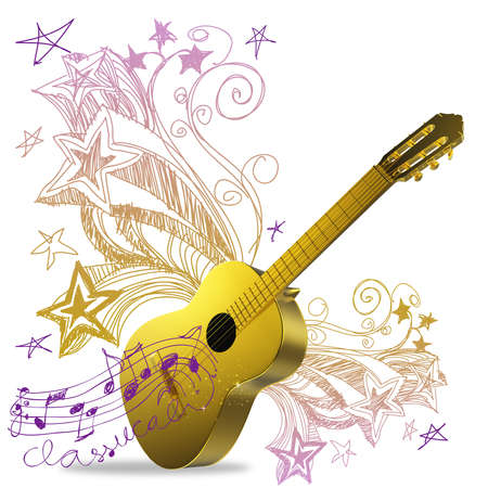 3d golden guitar and fantasy doodle background