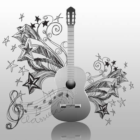 classical guitar and doodle background photo