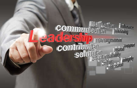 business man hand touch virtual 3d leadership skill as concept Stock Photo
