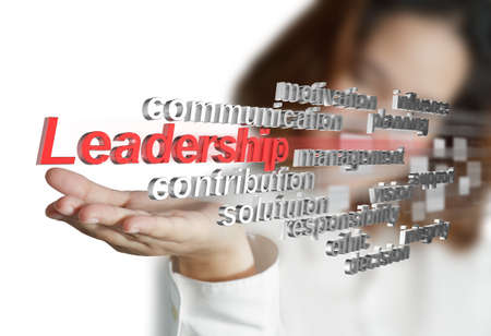 businesswoman shows 3d leadership skill as concept Stock Photo - 14161496