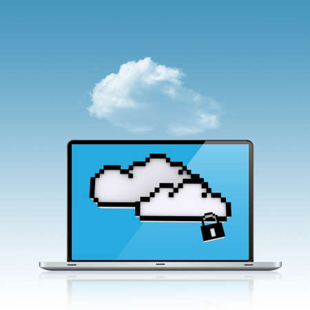 Cloud Computing Concept 3d on sky background photo