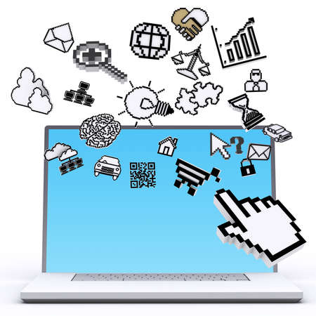 laptop computer with pixel computer icons as concept Stock Photo - 14161712