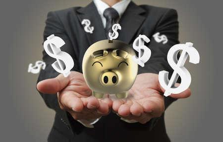 young add: Businessman shows a piggy bank