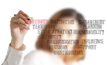 close up of businesswoman hand writing leadership skill concept photo