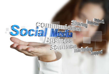 textual: business woman hand shows 3d social media as concept