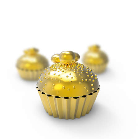 golden cupcake 3d rendering on white photo