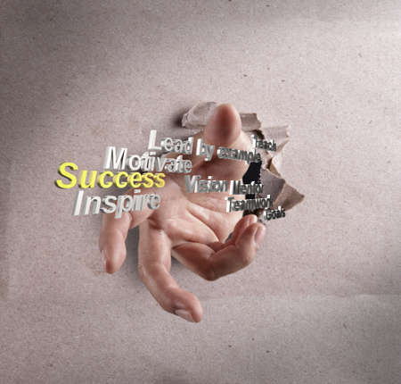 businessman hand reach success as concept photo