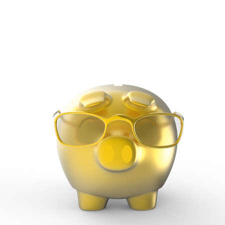 3d gold  nerd piggy bank on white background photo