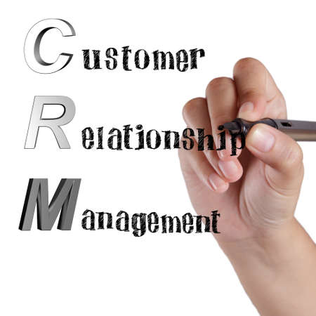 Acronym of CRM Customer Relationship Management by hand drawing photo