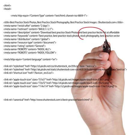 light source: Hand Highlighting Website Script on white Stock Photo