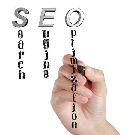 spamdexing: Female hand draw SEO Search Engine Optimization on white board Stock Photo