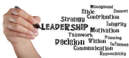 hand writing leadership and related words on white board as concept photo