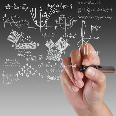 physic: Well-known physical formula on white board Stock Photo
