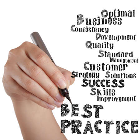 best practice: hand draw virtual best practice and related words Stock Photo