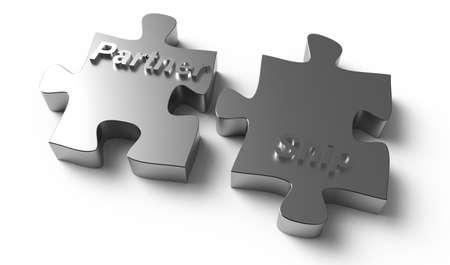 partnership  written puzzle silver pieces as concept Stock Photo - 14444907