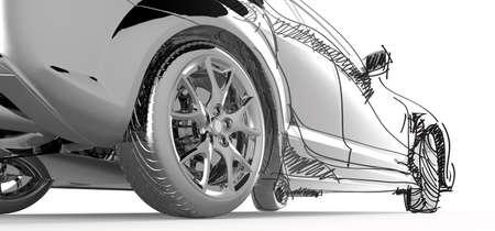dibujo tecnico: coche modelo inoxidable y dibujo Foto de archivo